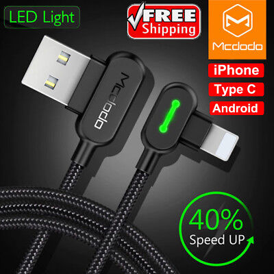 AU15.99 • Buy Mcdodo Right Angle Game Cable Sync Charging Data USB LED Cord IPhone Type C