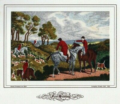 Vintage BWA Langley Prints Screen Printed Silk  Fox Hunting  By Samuel Howitt  • 29.99£