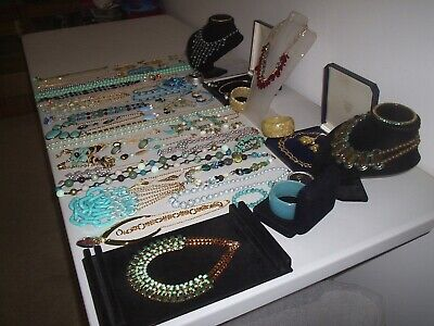 Large Job Lot Of Vintage & Costume Jewellery Necklaces Bracelets Earrings (p8) • 9.99£