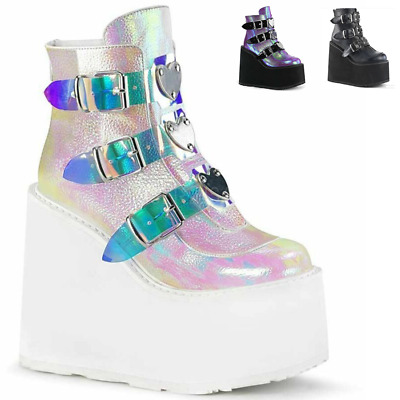 Ladies Womens Goth Punk Chunky Wedge High Heel Platform Shoes  Ankle Boots Size • 21.99£
