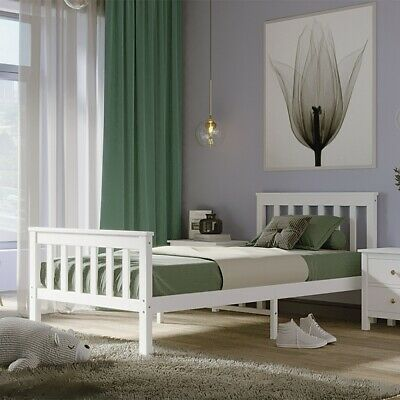 Wood Pine 3FT Single Bed Frame Solid Wooden Slatted Bedstead Bedframe In White • 49.99£