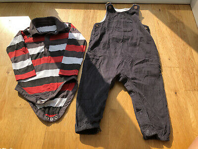 Boys Corduroy Dungarees And Top 12-18 Months • 1.85£