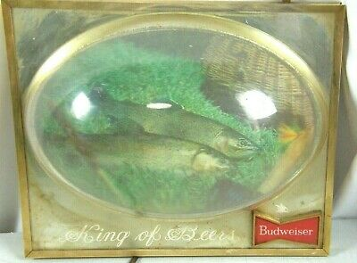 $ CDN230.69 • Buy Vintage BUDWEISER King Of Beer Lighted Bubble Sign Trout Fish Bar Advertising