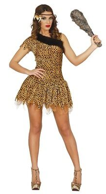 £15.49 • Buy Womens Leopard Print Cavewoman Costume Fancy Dress Cave Girl Stone Age Outfit