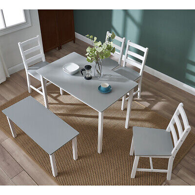 Solid Wooden Dining Table And 4 Chairs Bench Set In Grey Kitchen Room Furniture • 149£