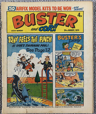 BUSTER & COR Comic - 24th August 1974 - IPC. Pete's Pocket Army Faceache Chalky • 1.49£