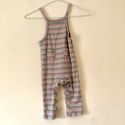 Next Baby Girl Dungarees Jumpsuit Outfit Romper Size 12-18 Months Stripe Strappy • 2£