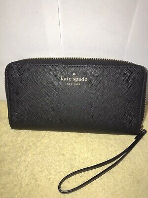 $ CDN16.48 • Buy Kate Spade Black Leather Zip Around Wallet EUC