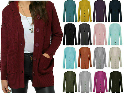 NEW Womens Chunky Cable Knitted Cardigan 5 Button Long Sleeves Grandad Plus Size • 11.99£