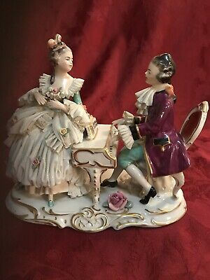$ CDN392.72 • Buy Large Dresden Porcelain Lace Figurine Man & Lady At Piano