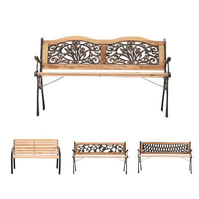 Wrought Iron 3 Seater Outdoor Wooden Garden Balcony Bench Park Seat Furniture UK • 95.95£
