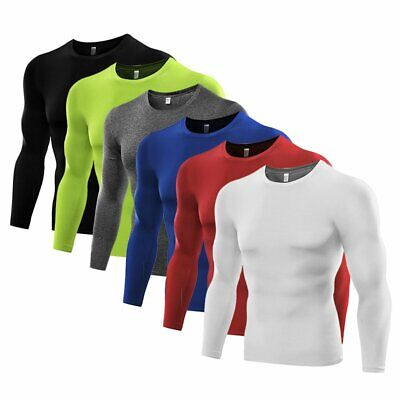 Men's Compression Tops Dri Fit Long Sleeve Tights Under Base Layer Gym T-shirts • 7.99£