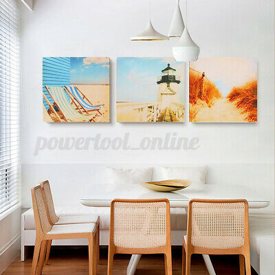 3Pcs 20x20cm Beach Nautical Seaside Canvas Wall Art Pictures Bedroom Home Decor  • 4.93£