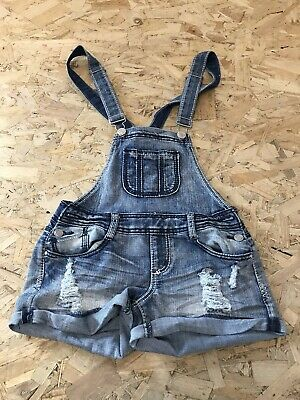 Girls Dungaree Shorts Age 12-13 Years Almost Famous Blue Denim D3362 • 8.99£