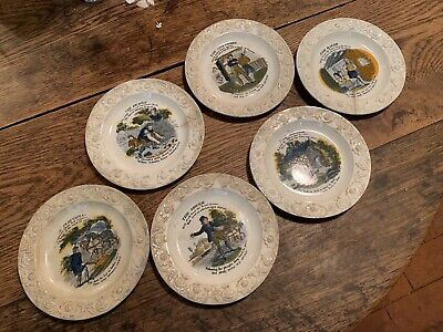 Rare Full Set Pearlware Plates 1820 Progress Of The Quartern Loaf Child Nursery • 49.99£