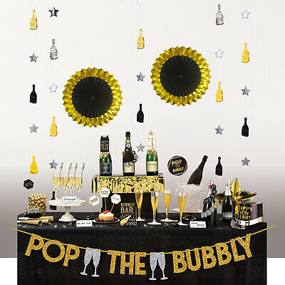 29pc New Years Eve Party Deluxe Bubbly Bar Decorating Kit Banner Food Pick Cards • 8.50£