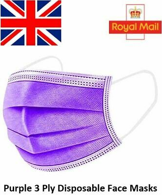 Purple Disposable Face Masks 3Ply Quality Surgical Medical Face Covers Anti Dust • 6.99£