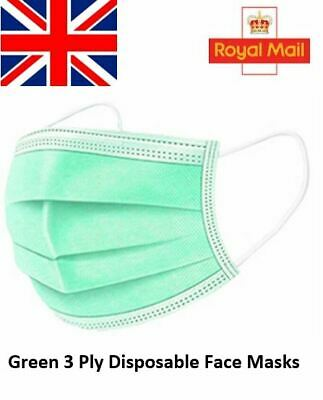 Green Disposable Face Masks 3 Ply Medical Surgical Quality Shopping Face Covers • 6.49£