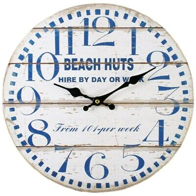 Shabby Chic Vintage Beach Huts Wall Clock Analogue 34cm MDF Distressed Nautical • 12.50£