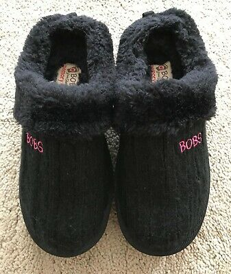 "Skechers "" Bobs"" Girls Black With Glitter Soles Slippers Uk 12 • 4.99£"