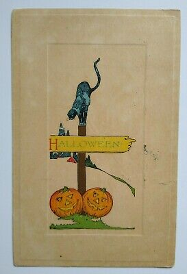 $ CDN46.66 • Buy Vintage Halloween Postcard The Pink Of Perfection Black & Blue Cat On Post 1914