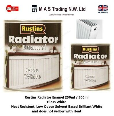 Rustins 250ml/500ml Radiator Paint Enamel White Gloss Solvent Based • 9.85£