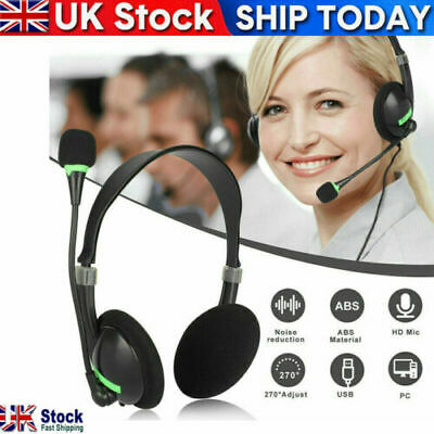 NEW USB Headphones With Microphone Noise Cancelling Headset For Skype Laptop • 8£