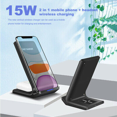 AU21.97 • Buy AU 15W Fast Qi Wireless Charger Stand Dock 2IN1 For Airpods 2/Pro  IPhone 11 XS