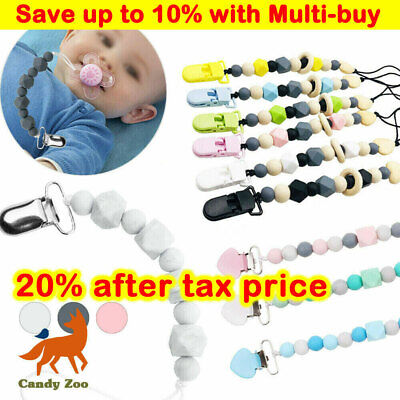 Dummy Clips Baby Soother Chain Holder Strap Pacifier Modern Design Teething Gift • 4.49£