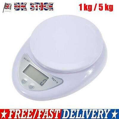 1kg 5kg Kitchen Scale Food Baking Weight Digital LCD Electronic Weighing W/ Bowl • 6.59£