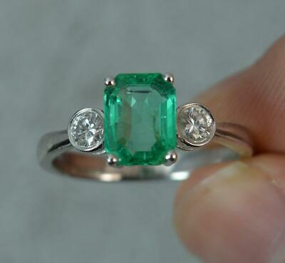Stunning Colombian Emerald VS Diamond 18ct White Gold Trilogy Ring D0370 • 2,495£