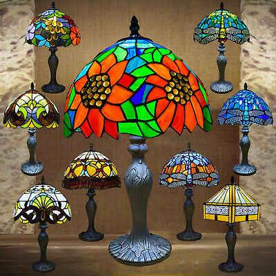 £64.20 • Buy Tiffany Style Table Lamp Handcrafted Art Stained Glass Bedside Desk Lamps Light