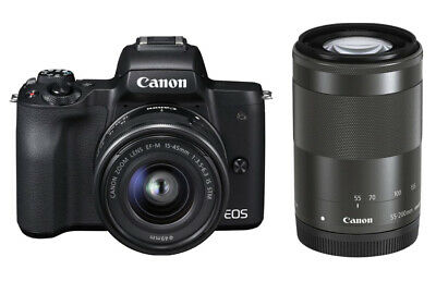 Canon EOS M50 Twin Lens Kit EF-M 15-45mm STM 55-200mm • 599.95£