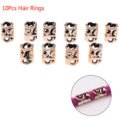 $5.98 • Buy 10Pcs/Set Hair Coil Dreadlocks Braid Tube Rings Metal Cuffs Hair Jewelry Dec W4