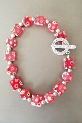 $29.99 • Buy Vintage Red Murano Glass Millefiori Bracelet Flower Bracelet With Silver Accents