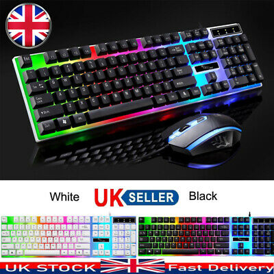 Keyboard And Mouse Set Gaming Rainbow Backlit Mechanical For PC Laptop Computer • 9.19£