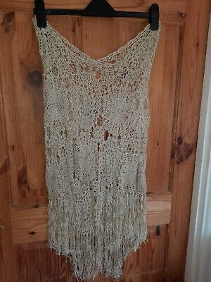 Unusual Vintage Gypsy 16/18 Pull On Gold Net Lace Skirt • 5£