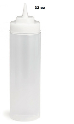 BPA FREE 32oz Widemouth Squeeze Clear Sauce Bottle Dispenser Catering Sauce • 5.99£