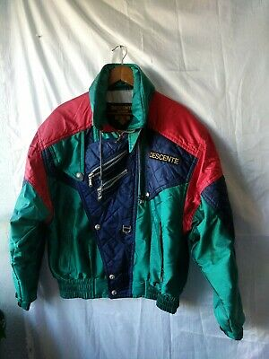 $35 • Buy Descente Vintage Jacket Navy Blue, Green And Red Colors Size M