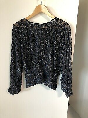 AU5.50 • Buy Black Sheer Blouse Zara Size 10