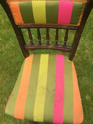 Lovely Wooden Chair Upholstered With Colourful Designer Guild Stripes • 25£