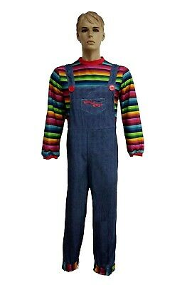 £15.99 • Buy Mens Halloween Killer Doll Fancy Dress Costume Adult Horror Chucky Style Outfit