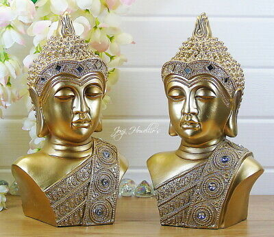 A Pair Of Thai Buddha Bust Ornaments Meditating Figurine Statue Sculpture Gold • 34.90£