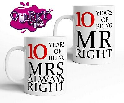 10 Years 10th Wedding Anniversary Mug Gift Set | Pair Mr & Mrs Right | Valentine • 14.75£