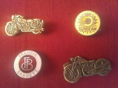 4 Vintage Motorcycle Pin Badges • 6£