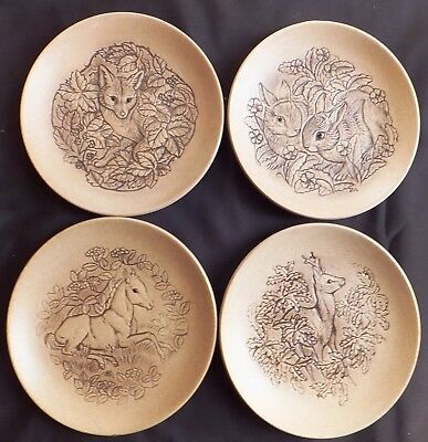 New Forest Animals Set Of 4 Poole Stoneware 5  Plates By Barbara Linley Adams • 12£
