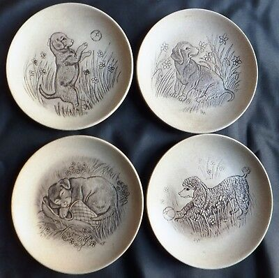 Dogs Set Of 4 Poole Stoneware 5  Plates Designed By Barbara Linley Adams • 12£