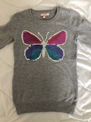 Blue Zoo Age 4-5 Grey Knit Long Sleeve Jumper Dress With Sequin Butterfly • 1.90£