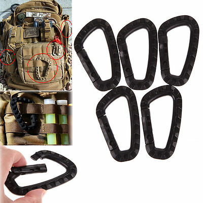 5pcs Outdoor Carabiner D-Ring Key Chain Clip Hook Camping Plastic Buckle ON :0 • 4.81£