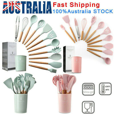 AU33.74 • Buy Set Of 12 Silicone Utensils Set Wooden Cooking Kitchen Baking Cookware BPA Free